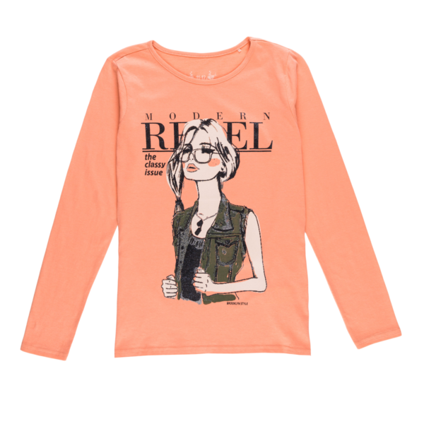 Dekliška majica, svetlo oranžna