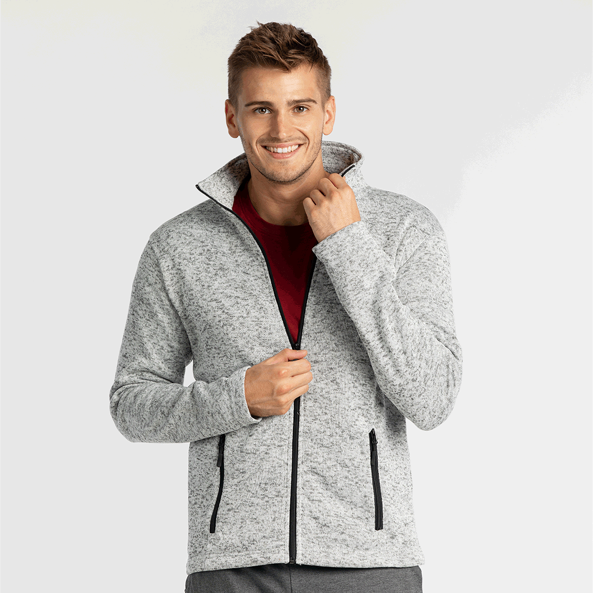 Moška jakna, melange siva