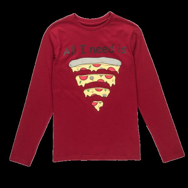 Fantovska majica, temno rdeča