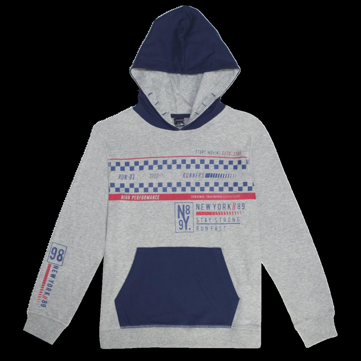 Fantovski pulover, melange siva