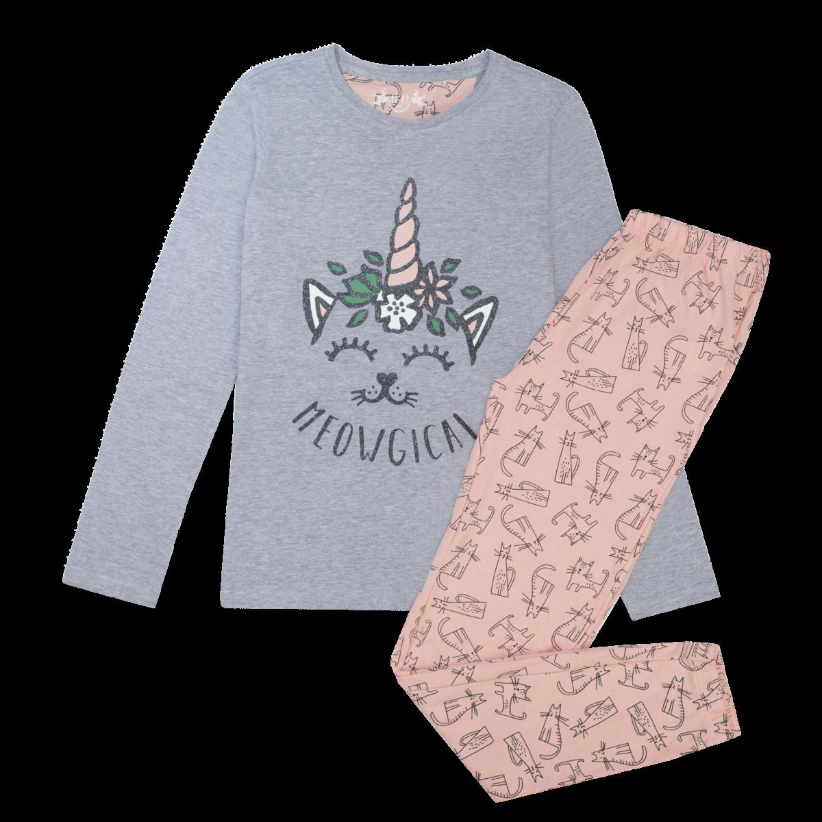 Dekliška pižama, melange siva