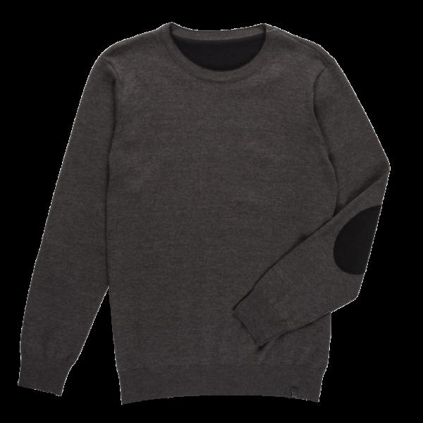 Moški pulover, temno melange siva