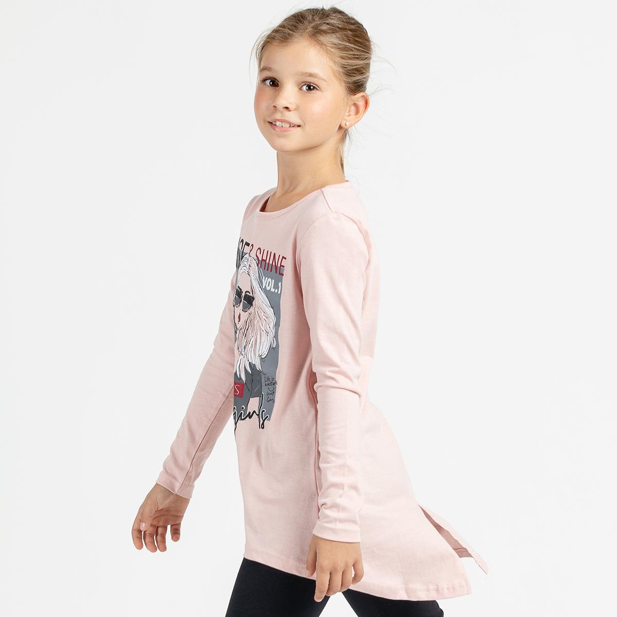 Dekliška tunika, svetlo roza