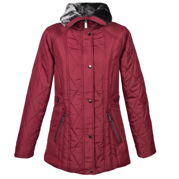 Ženska bunda, temno rdeča