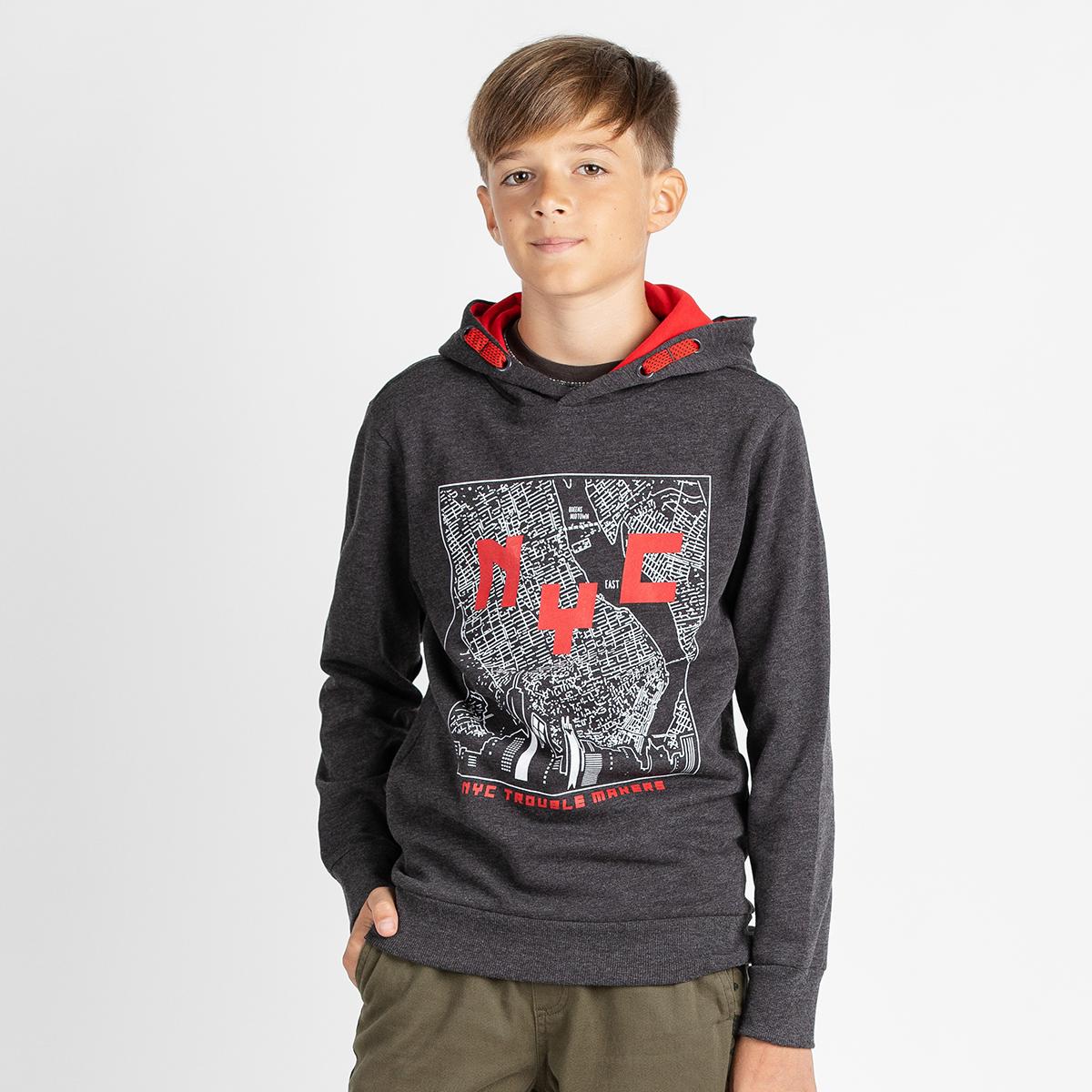 Fantovski pulover, temno melange siva