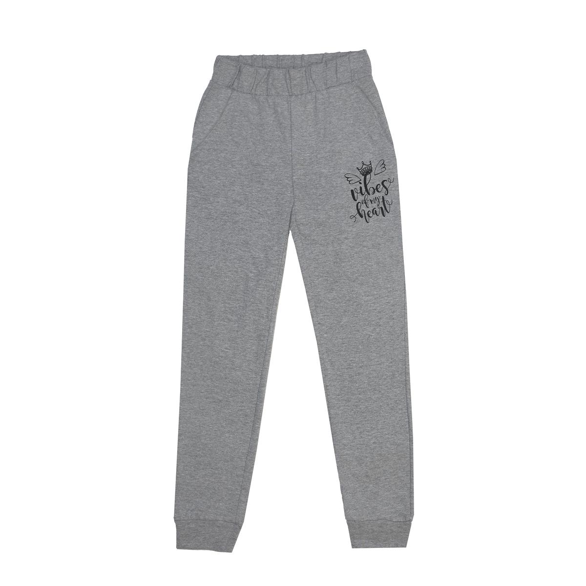 Dekliške hlače, melange siva