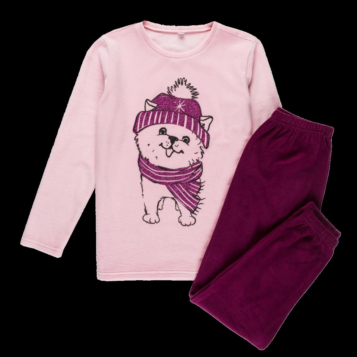 Dekliška pižama, svetlo roza