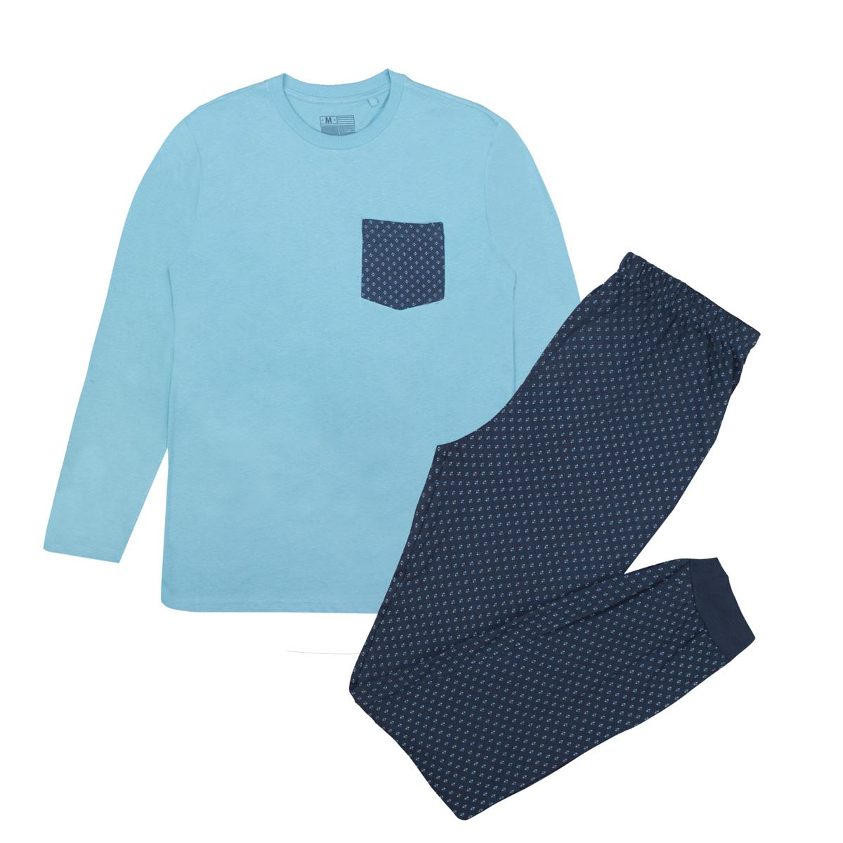 Moška pižama, svetlo modra