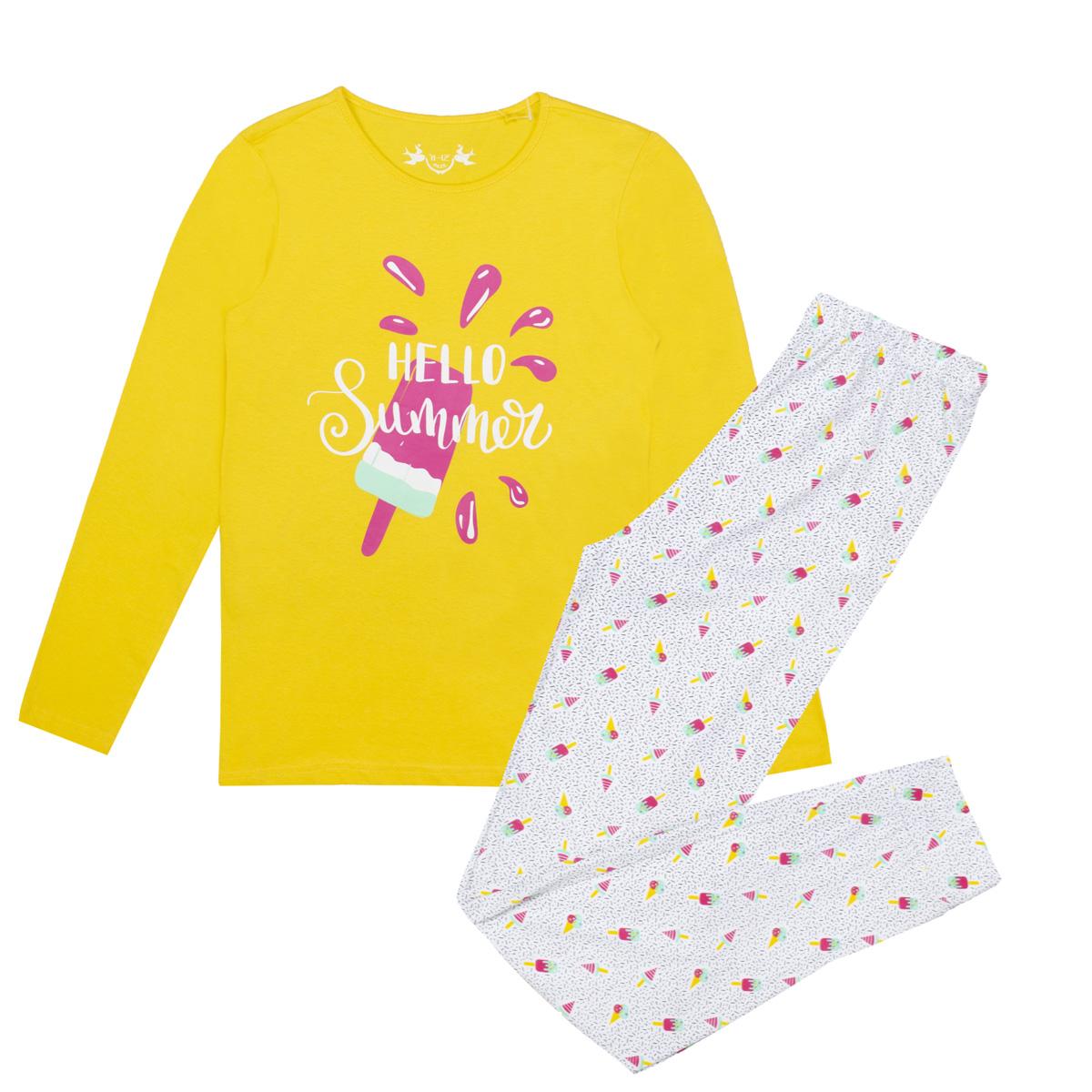 Dekliška pižama, rumena
