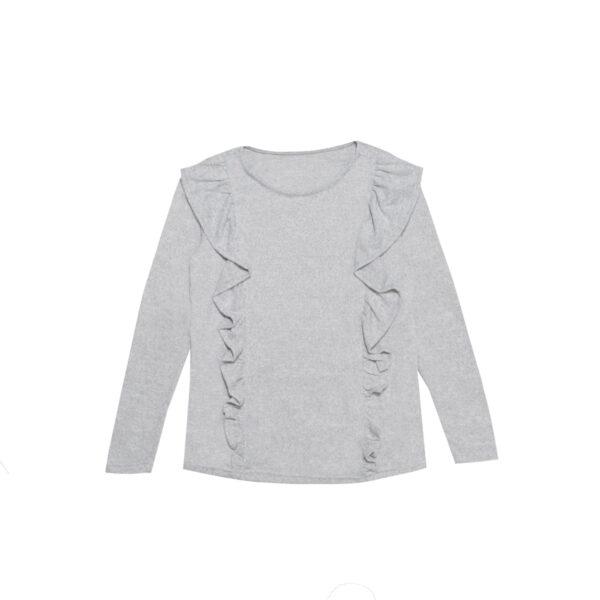 Dekliški pulover, melange siva