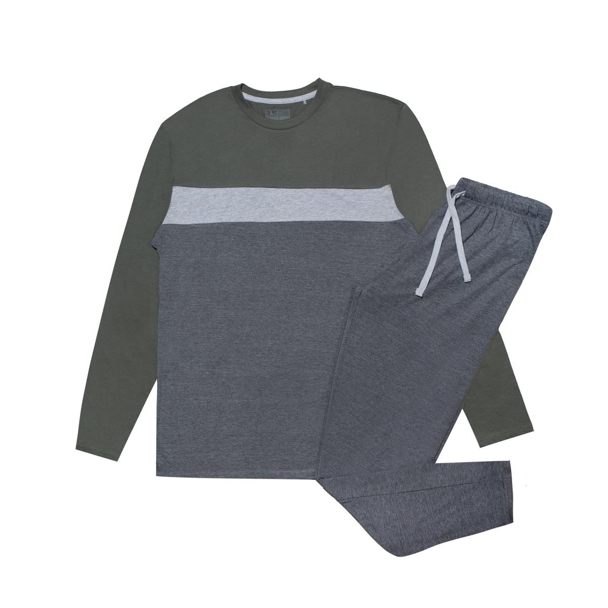 Moška pižama, temno melange siva