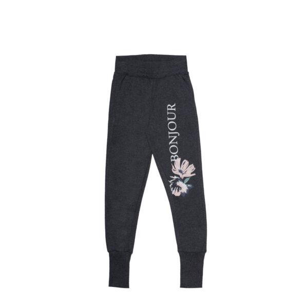 Dekliške hlače, temno melange siva