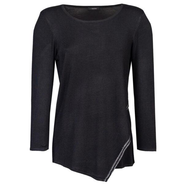 Ženski pulover, temno melange siva
